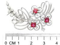 1.02ct Ruby & 0.55ct Diamond, 15ct White Gold Spray Brooch c.1925 (7 of 9)
