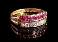 Antique Victorian Ruby, Diamond and Pearl Ring, Double Row, 15ct Gold (3 of 12)