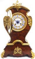 Antique French Burr Walnut & Ormolu 8-Day Mantel Clock Rococo Boulle Case Segment Dial (4 of 11)