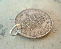 Vintage Pocket Watch Chain Fob 1959 Lucky Silver One Shilling Old 5d Coin Fob (5 of 8)