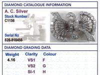 4.16ct Diamond & Platinum Double Clip Brooch - Art Deco c.1930 (10 of 12)