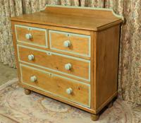 Victorian Stripped Pine Chest of Drawers Sage Painted Trim (4 of 8)
