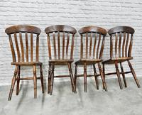 Set of 4 Antique Windsor Lathback Kitchen Chairs (4 of 5)