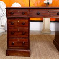 Mahogany Leather Desk 19th Century Victorian Kneehole Twin Pedestal (4 of 14)