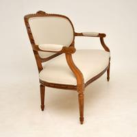 Antique French Carved Walnut Salon Sofa (4 of 12)