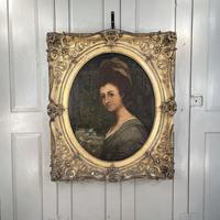 Antique Georgian Early Victorian Oil Painting Portrait of a Society Lady