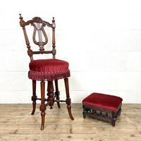 Antique Mahogany Musician's Stool & Footstool
