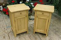 Cute & Quality Old Stripped Pine Bedside Cabinets (2 of 9)