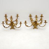 Pair of Antique Gilt Bronze Wall Sconce Candelabra (2 of 9)