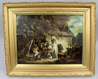 Pair of Early 19th Century Country Genre Scenes Oil on Canvas (7 of 21)