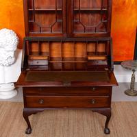 Secretaire Bureau Bookcase Astragal Glazed Mahogany Library Cabinet Edwardian (11 of 14)