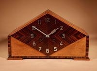 Very Stylish Typical Art Deco Amsterdam School Oak & Macassar Ebony / Coromandel Mantel Clock (2 of 8)