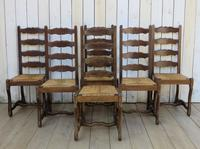 Six Oak & Rush Seated Os De Mouton Dining Chairs (8 of 8)
