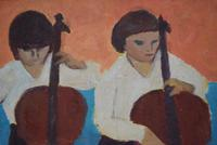 Mid Century Oil Painting on Board Three Cellists by Horas Kennedy (5 of 9)