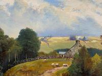 'Sheep In The Yorkshire Dales' - Original 1943 Vintage Landscape Oil Painting (4 of 12)