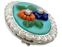 0.55ct Diamond, Malachite, Coral & Jade Brooch - Vintage c.1960 (3 of 9)