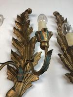 Pair of Vintage Florentine Giltwood Wall Lights (3 of 10)