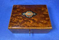 Victorian  French Burr Cedar Jewellery Box with Original Interior (2 of 9)