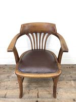 Pair of Early 20th Century Oak & Leather Desk Chairs (9 of 10)