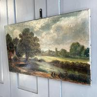 Antique English River Landscape Oil Painting After Constable Signed R Watts 1843 (7 of 10)