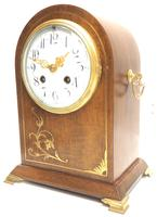Good Antique French 8-day Arched Top Inlaid Mantel Clock Art Nouveau Mantel Clock (2 of 10)