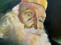 Early 1900s Oil Portrait Painting of Elderly Bearded Indian Gent (9 of 12)