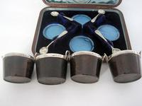 Boxed Set of Four Novelty Victorian Pail Shaped Silver & Oak Salts (3 of 7)