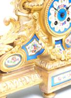 Stunning Quality French Mantel Clock Urn Top Blue Sevres Porcelain Mantle Clock. (6 of 12)