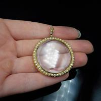 Antique Victorian Pearl Round 9ct 9K Yellow Gold Shaker Locket Pendant (2 of 10)