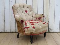 Antique French Button Back Chair For Re-upholstery (8 of 8)