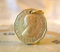 Vintage Pocket Watch Chain Fob 1954 Queen Elizabeth Threpenny Bit Coin Fob (2 of 7)