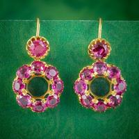 Antique Victorian Natural Ruby Pink Sapphire Earrings 18ct Gold c.1880 With Cert
