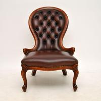 Victorian Style Leather Spoon Back Chair (2 of 9)