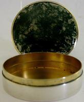 Super Rare English Solid Sterling Silver Moss Agate Snuff Box 1912 Antique (8 of 9)