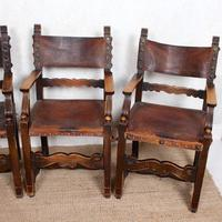 4 Dining Chairs Ships Nautical Chairs Oak Leather 19th Century (3 of 10)