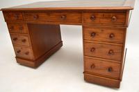 Antique Victorian  Mahogany Leather Top Pedestal Desk (10 of 11)