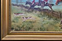 'The Fox Hunt' Original Vintage Country Sporting Pursuit Oil on Canvas Painting (15 of 17)