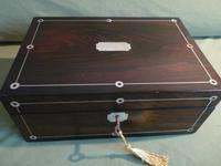 Inlaid Rosewood Jewellery Box + Tray. Plush Interior c 1845 (12 of 12)