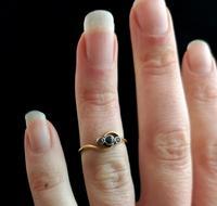 Art Deco Sapphire & Diamond trilogy ring, 18ct gold (3 of 10)