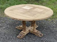 Large Round French Bleached Oak Farmhouse Table with Extensions (5 of 38)