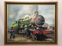Oil Painting Railway Train Engine Princess Margaret 4056 Signed Ken Allsebrook (5 of 30)
