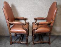 Large Pair of Oak & Leather Armchairs (7 of 11)