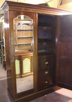 1900s Large 3 Door Mahogany Mirrored Wardrobe with Inlay. Good Interior (3 of 5)