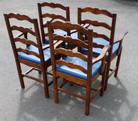 1960's Set 4 Oak Carver Dining Chairs with Blue Leather Pop Out Seats (4 of 4)