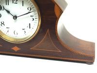 Impressive Solid Mahogany Edwardian Timepiece Clock Hat Shaped With Satinwood Inlaid Decoration (5 of 8)
