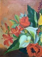 Stunning Original 1960s Vintage / Retro Floral Still Life Oil on Canvas Painting (5 of 11)