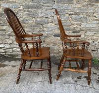 Pair of Antique Broad Arm Windsor Chairs (5 of 28)