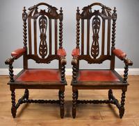 Pair of 1910 Oak Barley Twist Armchairs (2 of 15)
