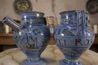 Pair of Mid 17th Century Italian Majolica Berettino Wet Drug Jars (5 of 11)