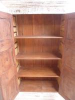 Handmade Indian Mango & Teak Large Painted White & Green 2 Door Storage Cupboard (6 of 7)